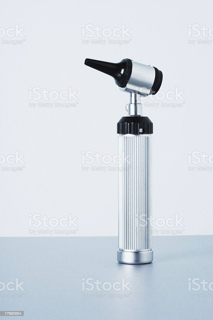 A studio shot of an otoscope stock photo