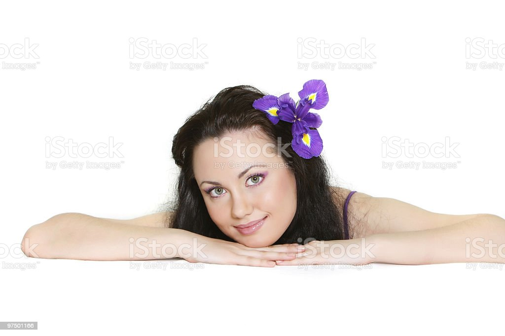 studio shot of attractive girl with purple flower royalty-free stock photo