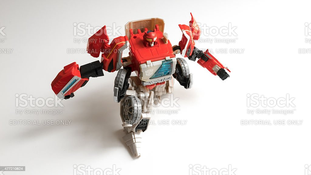 Studio shot of Autobot Blaster figure from Transformers series stock photo