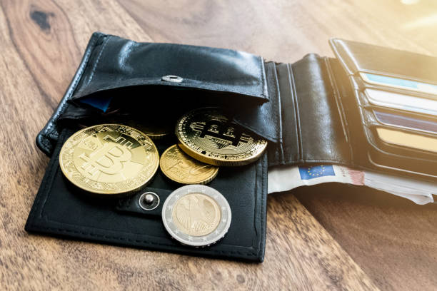studio shot of bitcoins in personal wallet with other coins taken in Hamburg, Germany on 2017-12-21 stock photo