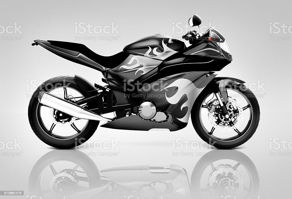 Studio Shot of Black Motor Cycle stock photo