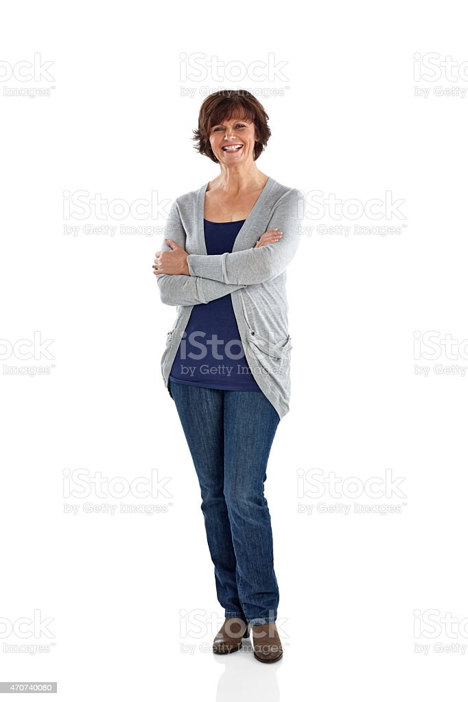 Studio shot of cheerful mature woman stock photo