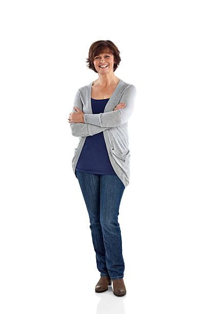 studio shot of cheerful mature woman - vrouw 60 stockfoto's en -beelden