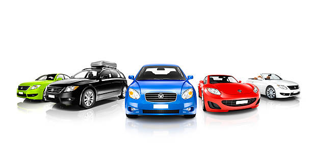 studio shot of colorful generic cars - in a row stock pictures, royalty-free photos & images