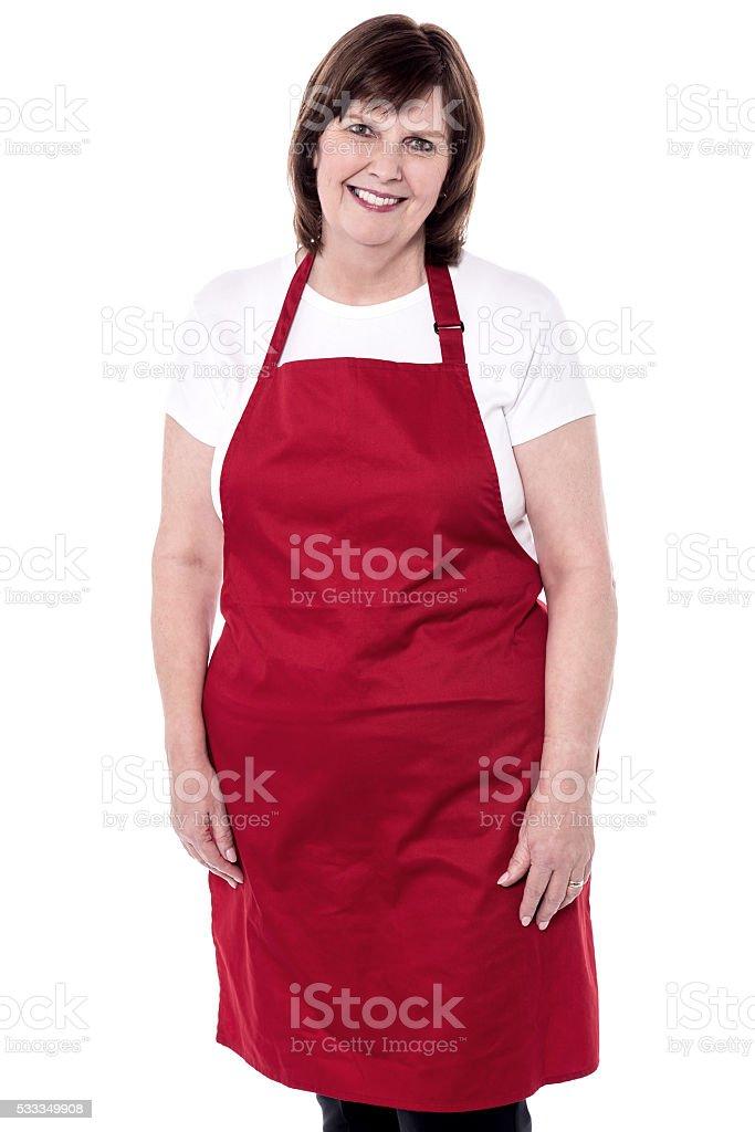 Studio shot of female chef stock photo
