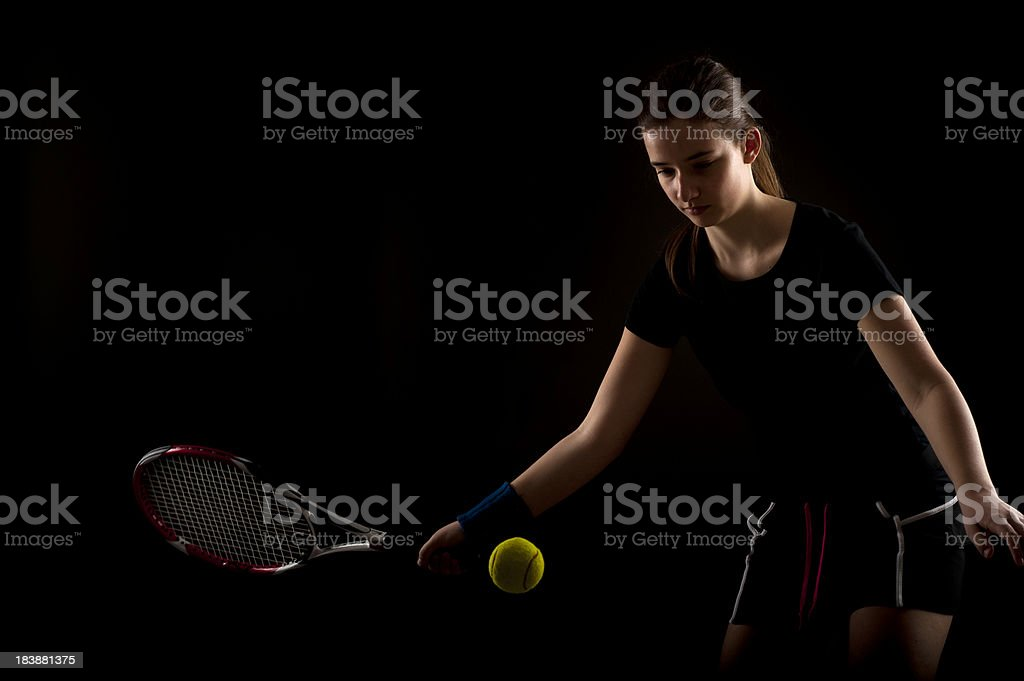 Studio shot of female tennis player royalty-free stock photo