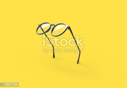 Studio shot of flying Black glasses on yellow background