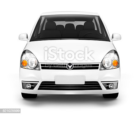 istock Studio Shot of Front View of White Car 521025599