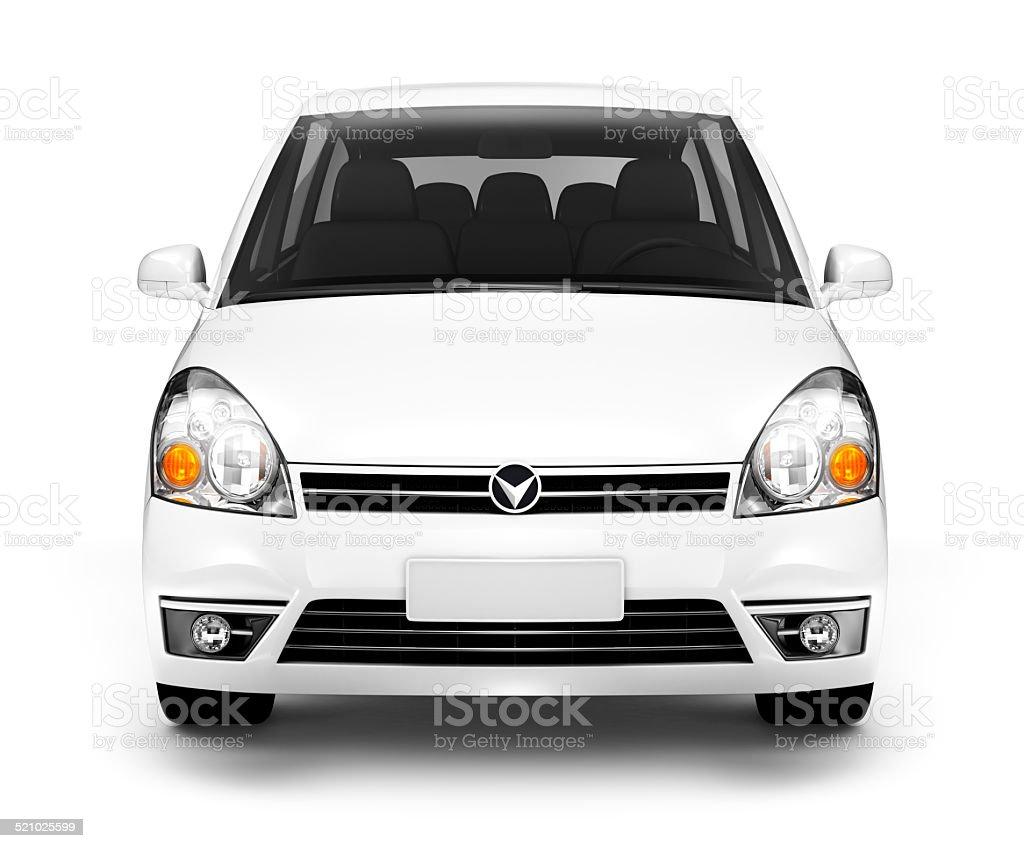 Studioaufnahme der Vorderseite des weißen Auto – Foto