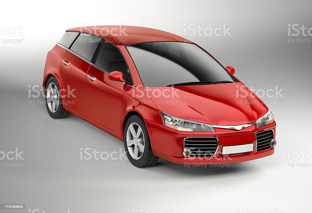 Studio shot of modern red compact car stock photo