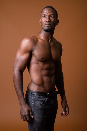 Strong Afroamerican Man Showing Off His Physique Stock