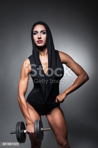 618330244istockphoto studio shot of perfect body of bodybuilder female; 531687020