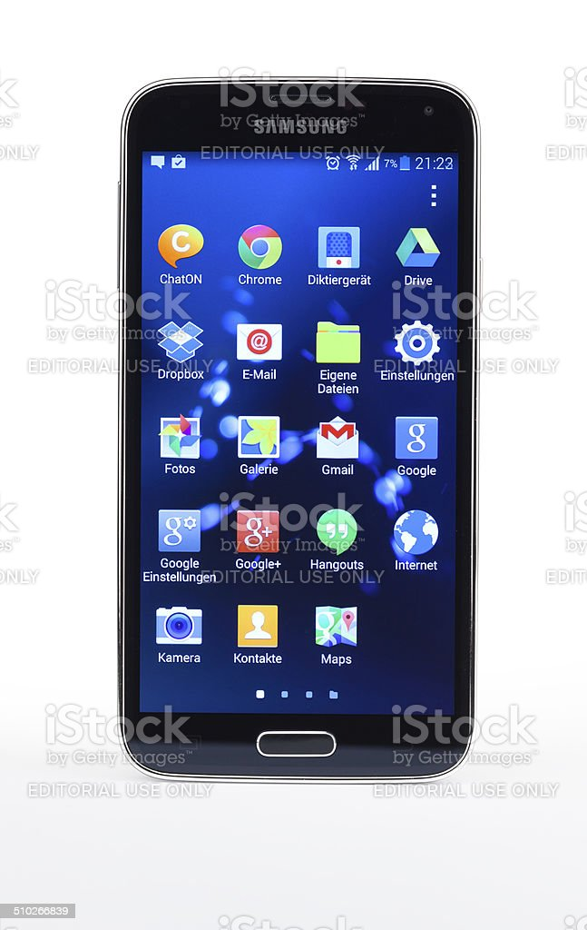Studio shot of Samsung Galaxy S5 smartphone, isolated stock photo