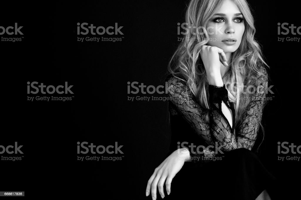Studio shot of sensual girl stock photo