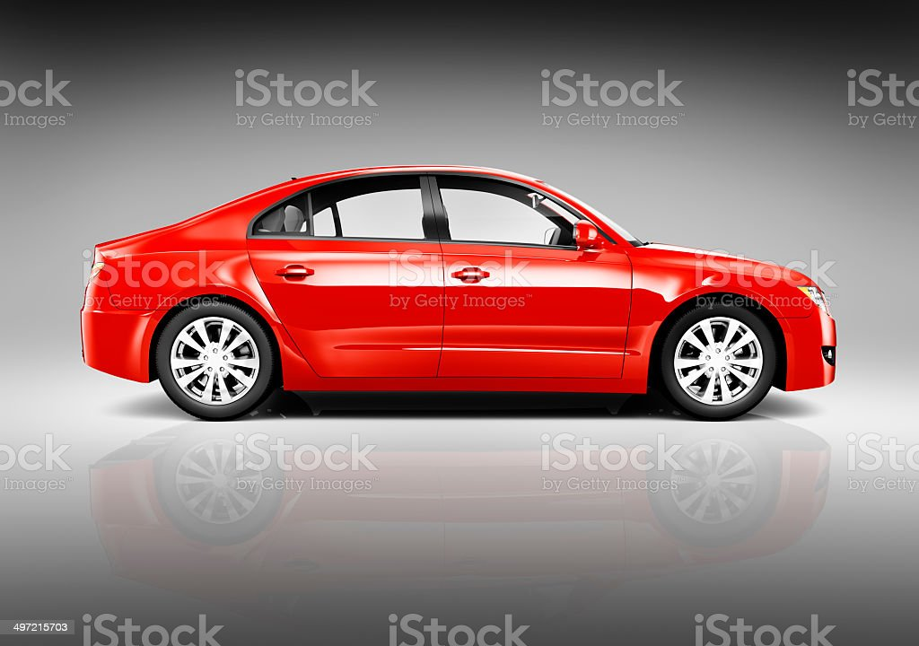 Studio Shot of Side View of Red Sedan stock photo