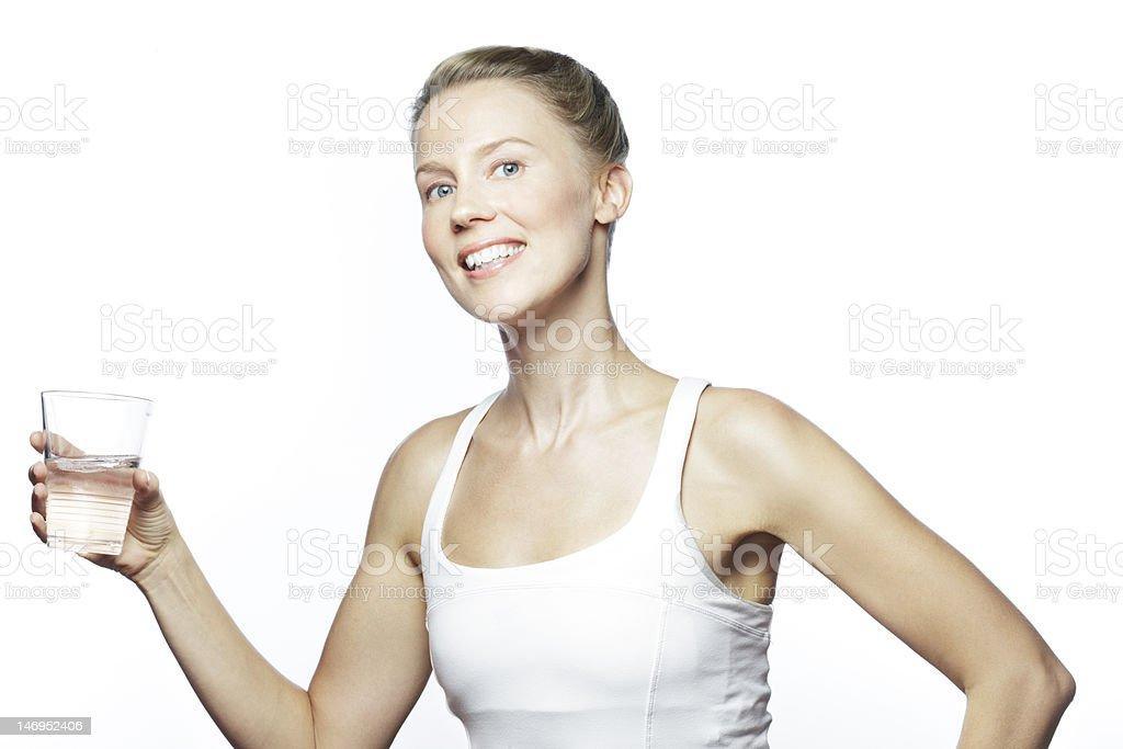 studio shot of sporty caucasian woman royalty-free stock photo
