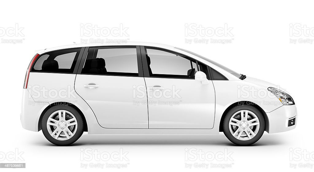 Studio Shot Of Three-Dimensional White Sedan stock photo