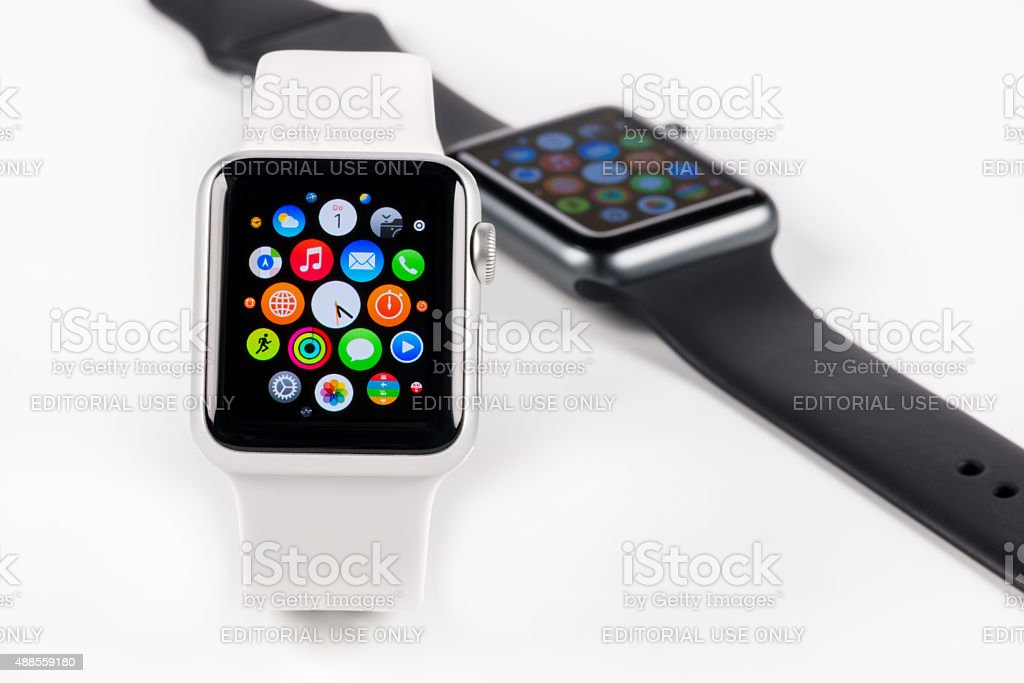 Studio shot of two Apple Stainless Steel Watches stock photo