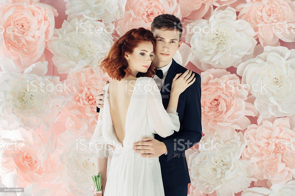 Studio shot of two young beautiful people