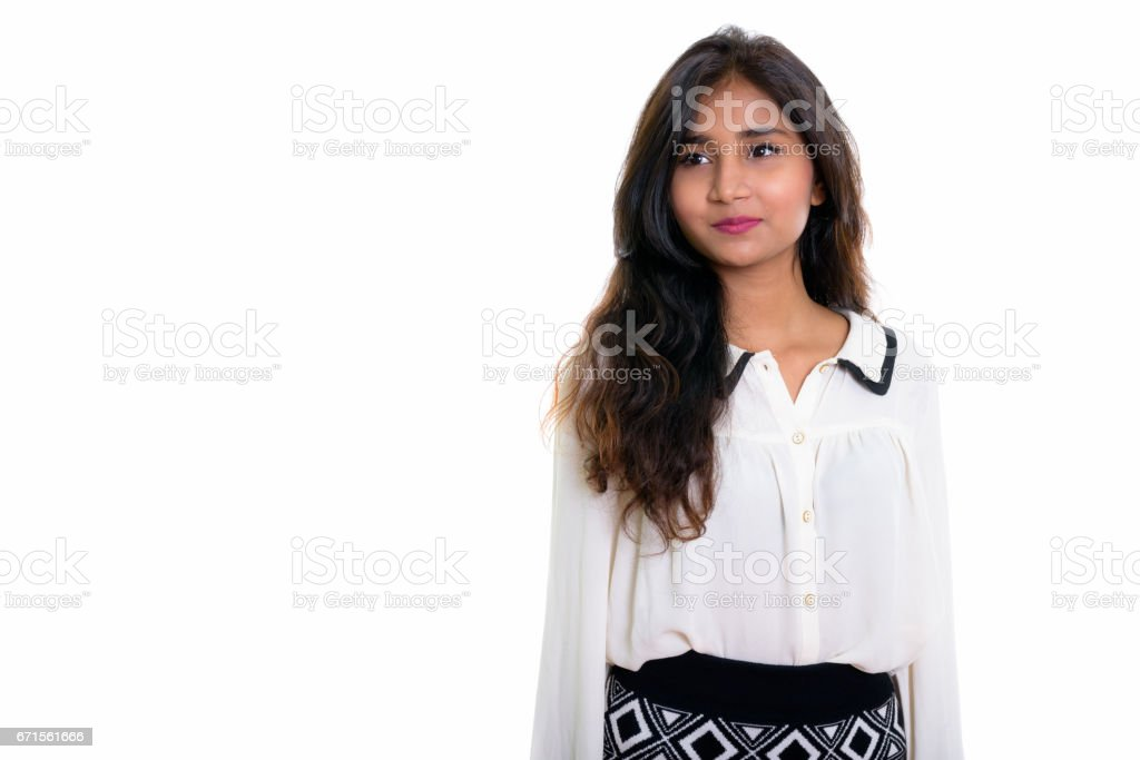 Studio Shot Of Young Beautiful Persian Businesswoman Thinking Isolated Against White Background Stock Photo Download Image Now Istock