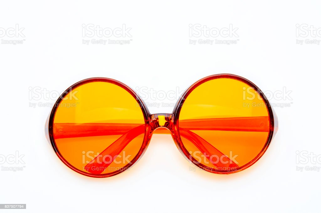 Studio shot on white background: closed orange round retro sunglasses stock photo