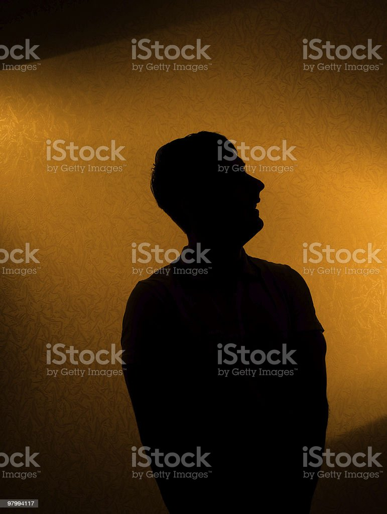 Studio shot - silhouette of man royalty free stockfoto