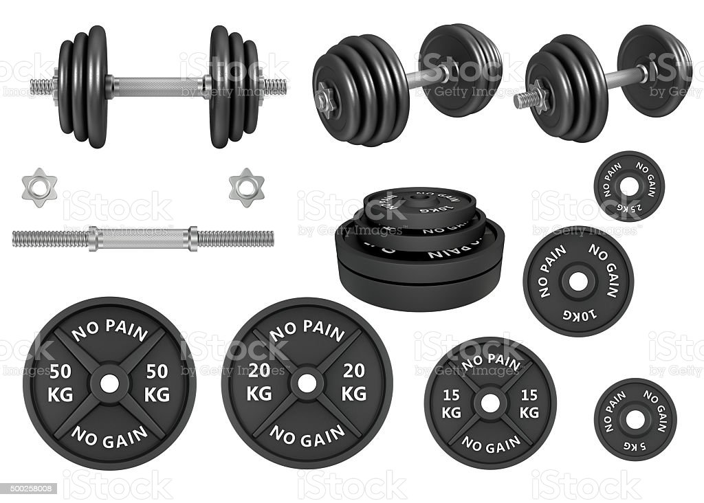 Studio shots of a barbells weights and dumbbells stock photo