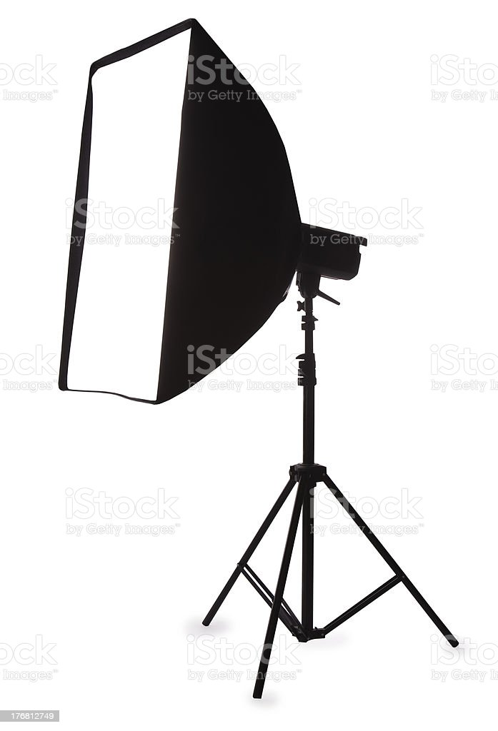 Studio strobe with softbox isolated on the white royalty-free stock photo