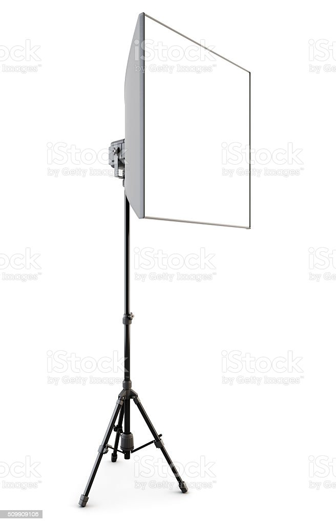 Studio strobe with softbox isolated on white background. 3d. stock photo