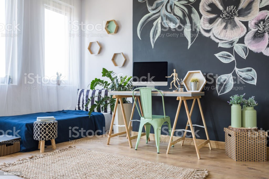 Studio with a floral motif stock photo