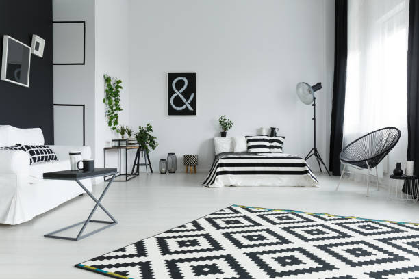 Studio with bed Modern, black and white studio with bed designer baby stock pictures, royalty-free photos & images