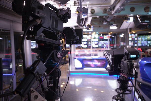 TV studio with camera and lights. stock photo