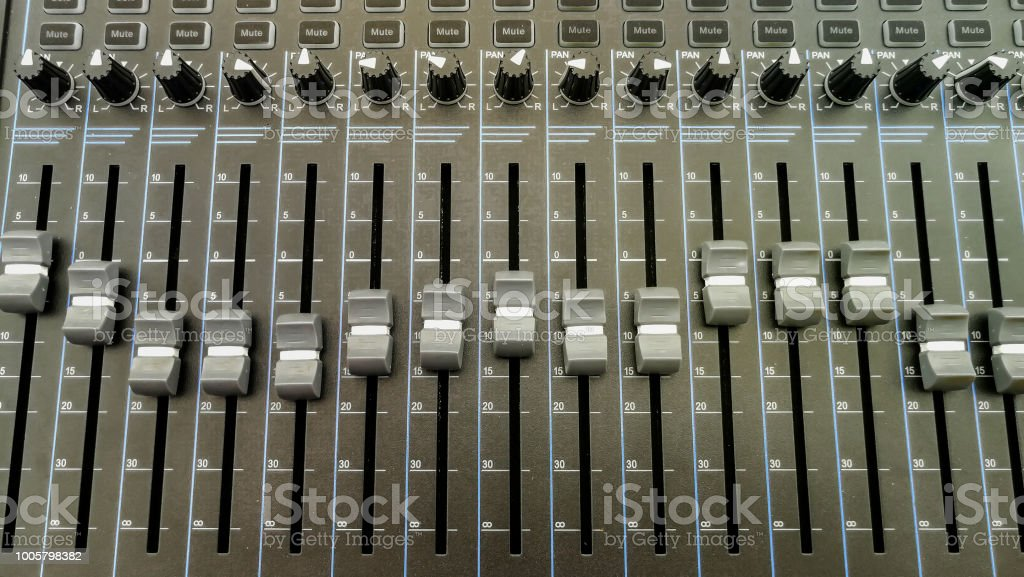 Analogic Sound Mixer. Professional audio mixing console radio and TV...
