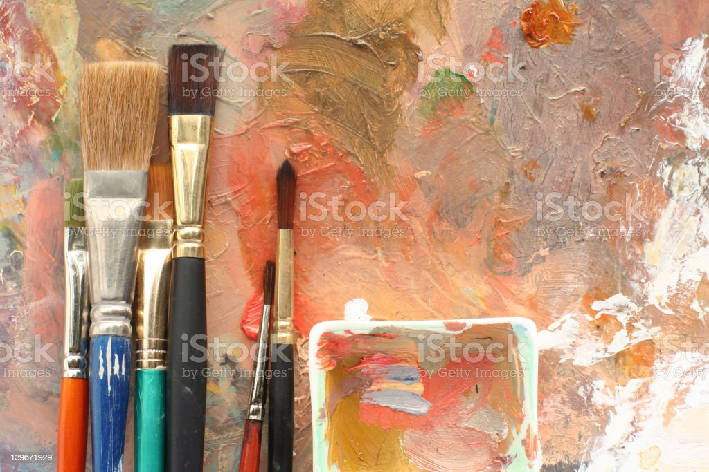 studioArt 2 palettes and brushes stock photo