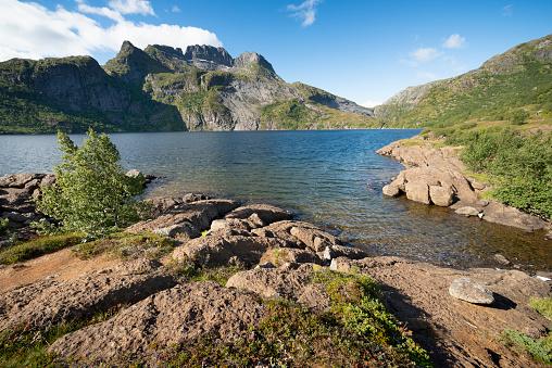 Moskenesöya Lofoten 섬에에서 Studvalsvatnet 호수 0명에 대한 스톡 사진 및 기타 이미지
