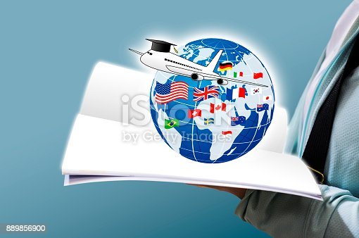 istock Study abroad concept design of Young woman open book and world education with national flag 889856900