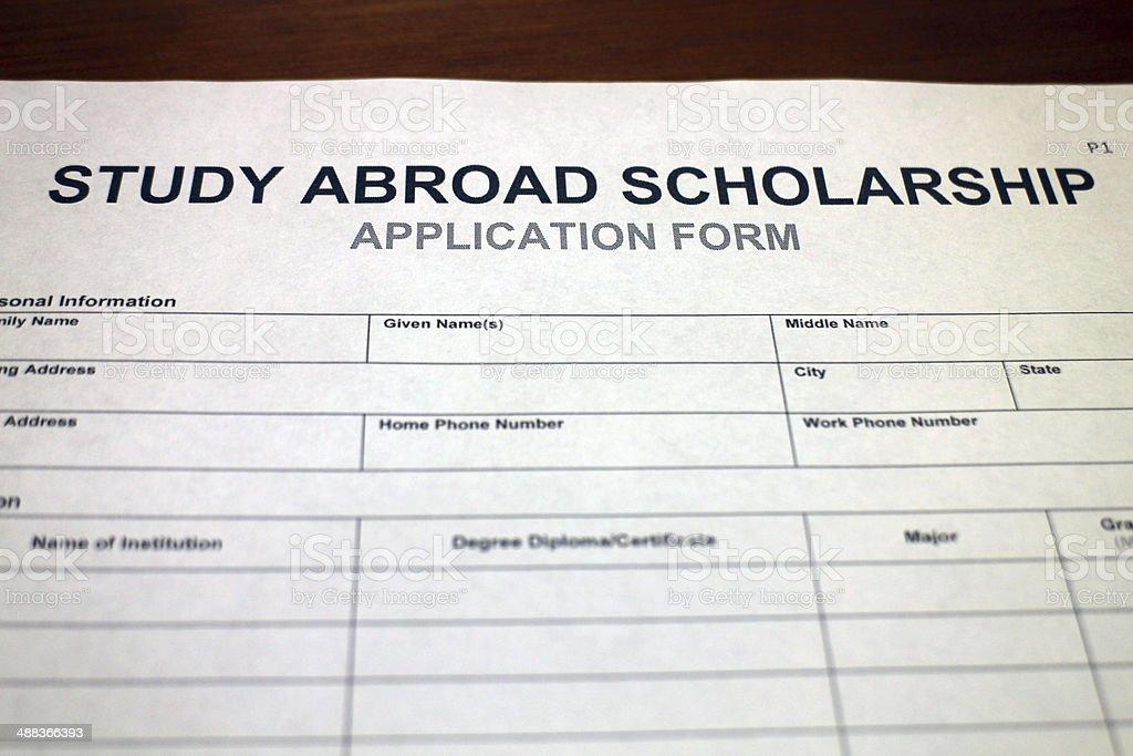 Study Abroad Scholarship Form stock photo