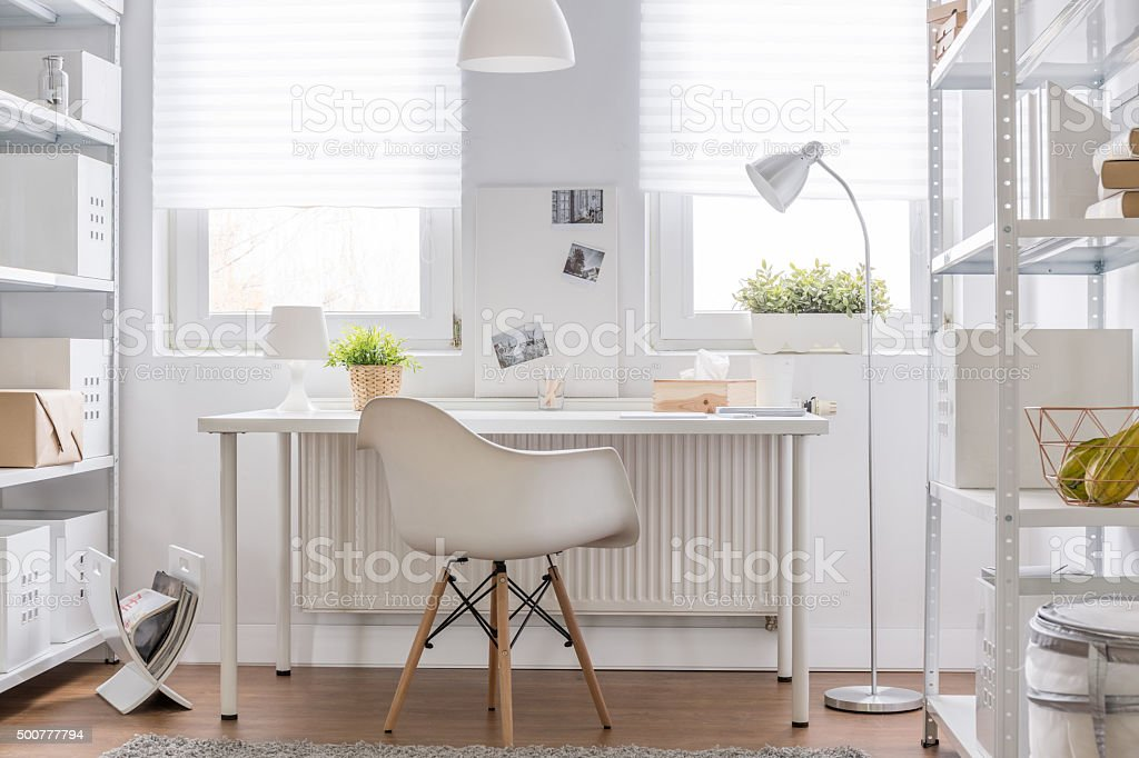 Study area in teenager room stock photo