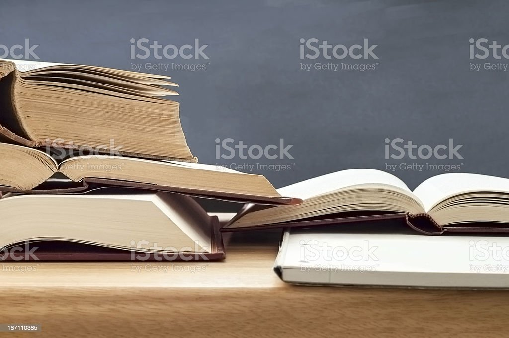 Study Books Opened on Table stock photo