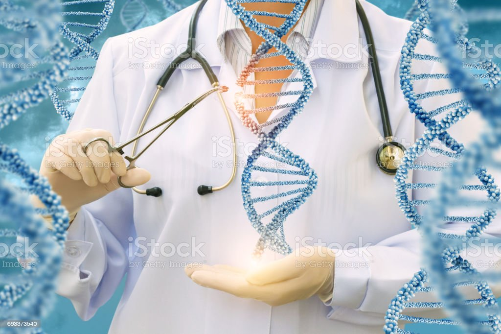 Study of DNA molecules by a doctor . stock photo