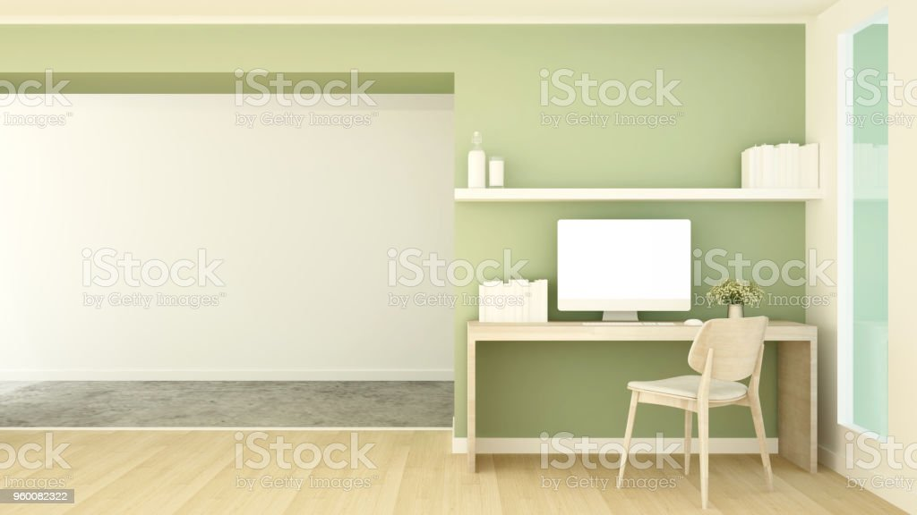 Study Room And Empty Space For Artwork Small Office Workplace And