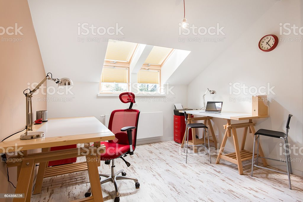 Study room at the attic stock photo