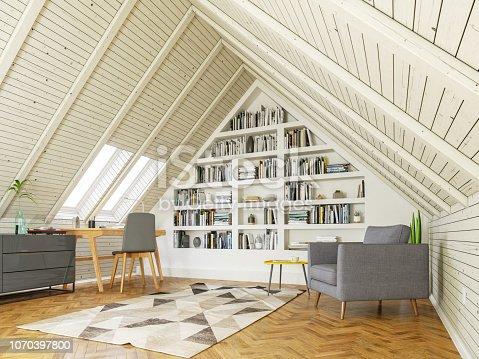 istock Study room in the attic 1070397800