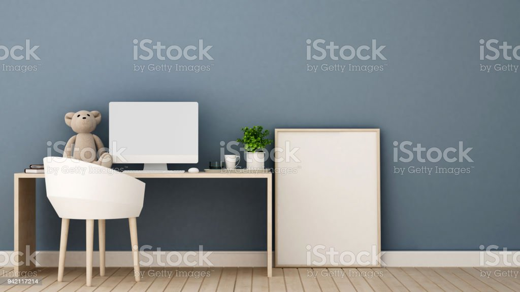 Study Room Or Workplace And Blue Wall Decorate In Bedroom Study Area ...