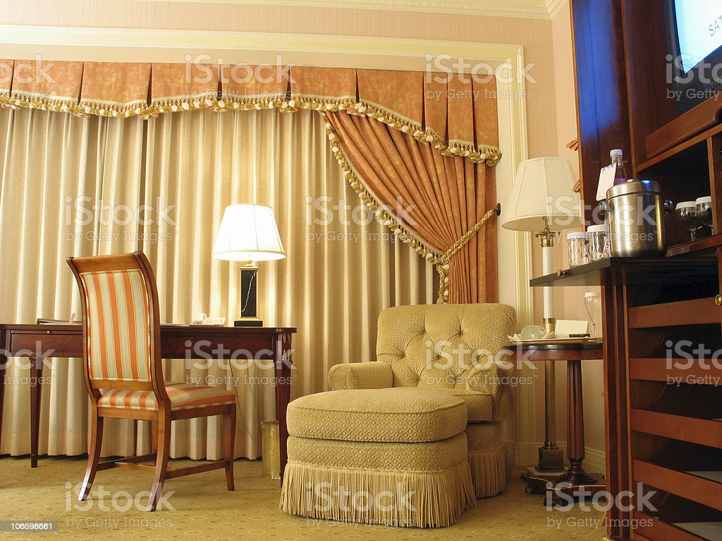 Study room with curtain royalty-free stock photo