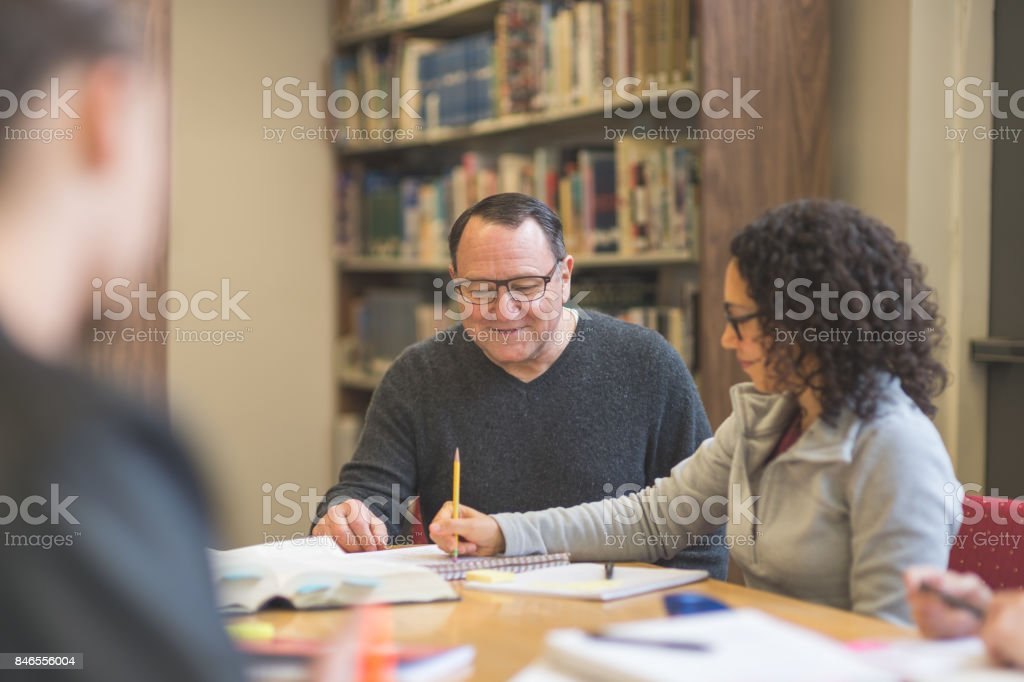 Study session in library stock photo