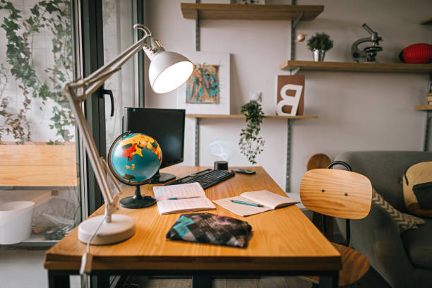 Study space in modern apartment stock photo