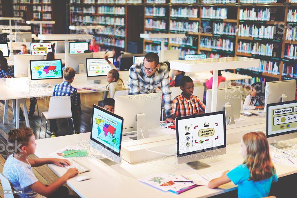 Study Studying Learn Learning Classroom Internet Concept stock photo