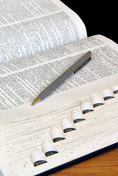Study Time: Open Dictionary With Pen stock photo
