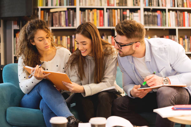 Study together for the exam stock photo